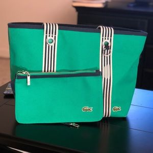 LaCoste Solid Canvas Tote Travel Beach Wristlet